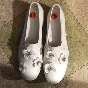 Kate spade triple decker rhinestone canvas shoes